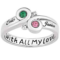 Swept Away Couple's Name & Birthstone Sterling Silver Ring