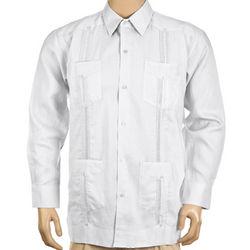 Linen Long Sleeve White Guayabera Shirt
