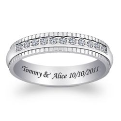 Ladies Titanium Cubic Zirconia Beaded Engraved Band