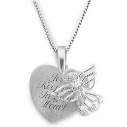 Personalized Sterling Angel Satin Heart Necklace