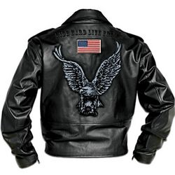 Embroidered Men's Leather Biker Jacket