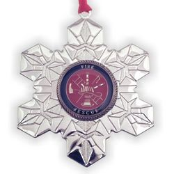Silver-Plated Snowflake Fire Fighter Christmas Ornament