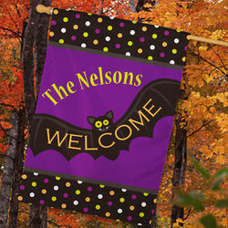 Personalized Halloween Welcome House Flag