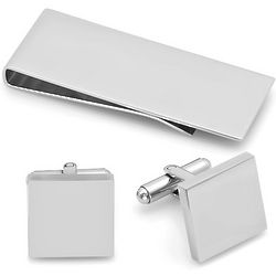 Stainless Money Clip and Cuff Links Gift Set