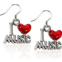 I Love Music Charm Earrings in Silver