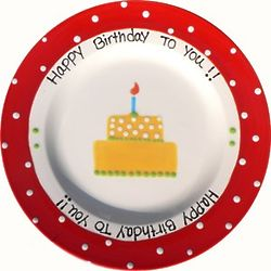 Personalized Red Rimmed Happy Birthday Plate