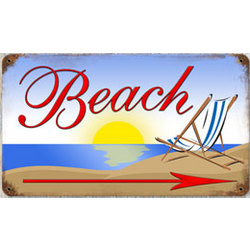 Beach Arrow Metal Sign