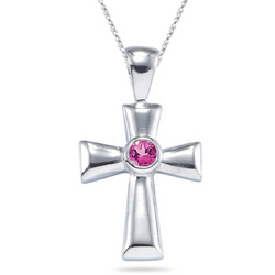 Pink Tourmaline Cross Pendant in Silver