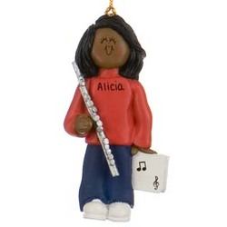 Female Ethnic Flute Player Personalized Christmas Ornament