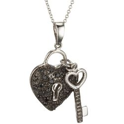 Black Diamond Heart and Key Charm Necklace in 14k White Gold