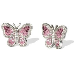 Pink Crystal Butterfly Earrings in Sterling Silver