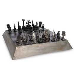 Rustic Pyramid Auto Part Chess Set