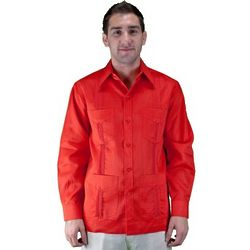 100 Linen Long Sleeve Red Guayabera Shirt