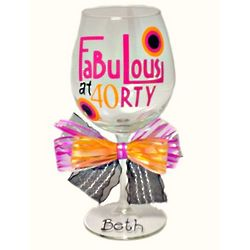 Personalized 40th Birthday Wine Glass