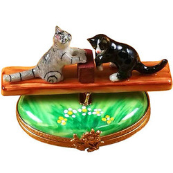 See Saw Cats Limoges Box