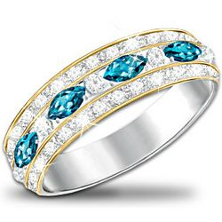 Infinite Joy Women's Ring with Blue and White Topaz