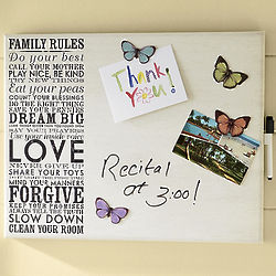 Family Rules Dry Erase Magnetic Memo Board