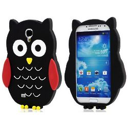 Black Owl Soft Gel Samsung Galaxy S4 Cell Phone Case