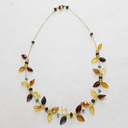 Amber Flowers Gold-Plated Necklace