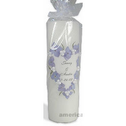 Blue Hydrangea Unity Pillar Candle