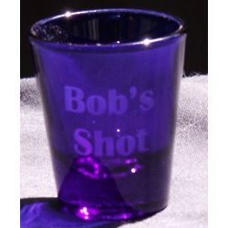 Personalized Engraved Cobalt Whiskey Shot Glass