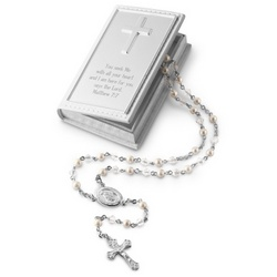 Girl's Rosary with Personalized Keepsake Box