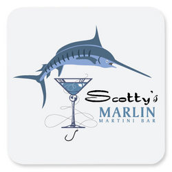 Personalized Marlin Martini Bar Coasters