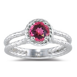 Pink Tourmaline Ring in 14K White Gold