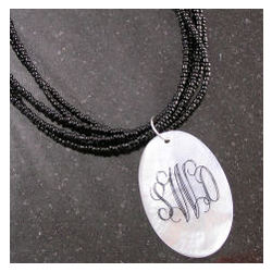 Monogrammed Mother of Pearl Oval Necklace