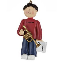 Male Trumpet Player Personalized Christmas Ornament