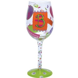 """B"" Wine Glass"