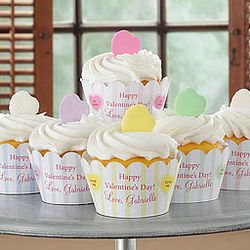 Candy Hearts Personalized Cupcake Wrapper Set