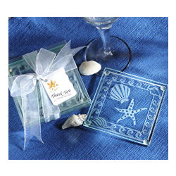 Shell and Starfish Frosted Glass Coaster Favors