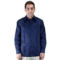 Linen Long Sleeve Navy Guayabera Shirt