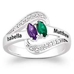 Personalized Sterling Silver Couples Birthstone and Name Ring