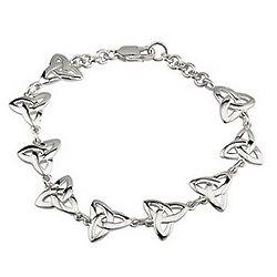 Silver Link Trinity Knot Celtic Bracelet