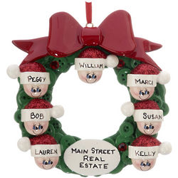 Personalized Button Wreath Family of 7 Christmas Ornament