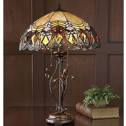 Amber Accent Stained Glass Lamp