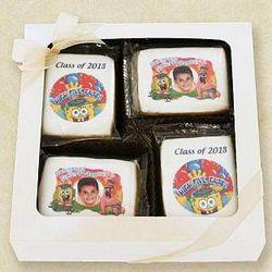 Graduate's Custom Photo SpongeBob Cookies in Gift Box