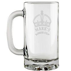 Kings Crown Etched Glass Beer Mug