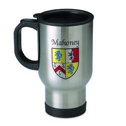 Personalized Name and Coat of Arms Stainless Steel Travel Mug