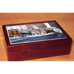 Scenic Cherry Wood Traditional Box with Tile of Quincy Market