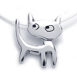 Catitude Sterling Silver Charm Necklace