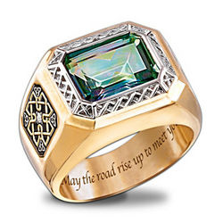 Men's Pride of Ireland Diamond and Mystic Topaz Ring
