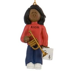 Female Ethnic Trumpet Player Personalized Christmas Ornament