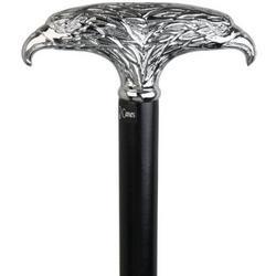 Chrome Double Eagle T-Handle Walking Cane with Beechwood Shaft