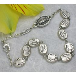 Antique Silver Our Lady of Lourdes Rosary Bracelet
