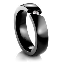 Black Titanium Ring with Diamond