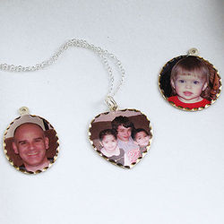 Personalized Photo Silver Pendant and Chain