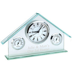 Engraved Glass House Weather Station Clock